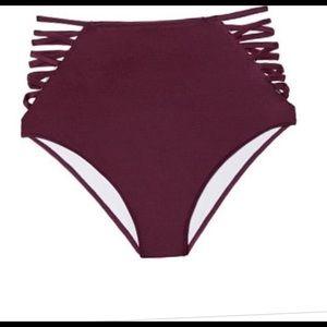 Purple high waisted swim bottoms